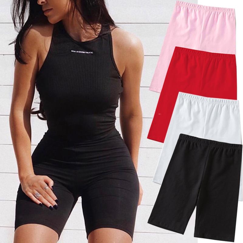 2020 Summer Fashion Shorts Women  Biker Shorts Fitness Korean Casual  Short 4 Color Athleisure Cycling Shorts S-XL