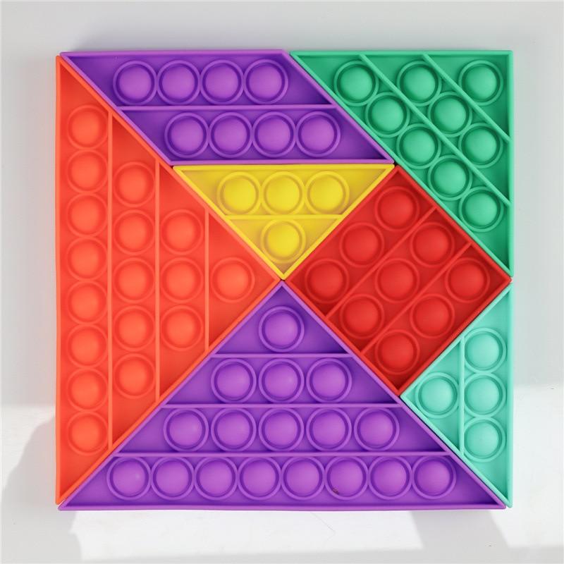 Fidget Toy Box Pops it Puzzle Tangram Antistress Toys Push Pop Bubble Sensory Toy Squeeze Toys Stress Reliever Adult Kids enlarge