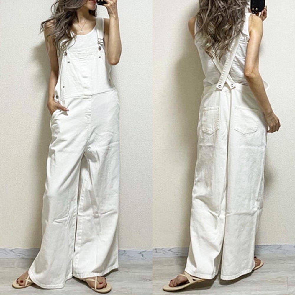 Women Rompers And Jumpsuites  Japanese Suspenders Plain Trousers Ladies Loose All-in-one Full Length