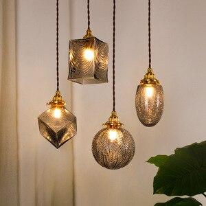 New Glass Pendant Light Japanese Retro Led Lighting Fixture Luxury Hanging Dining Room Bedroom Bedside Bar Kitchen Decor Lamp