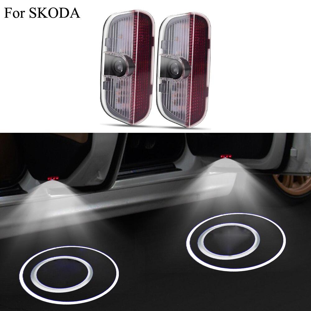 20 piezas/10 conjunto de Logo LED insignia de bienvenida luz para Skoda Superb 2009 - 2015 Skoda lámpara de logotipo del proyector LED accesorios de luz de puerta de coche
