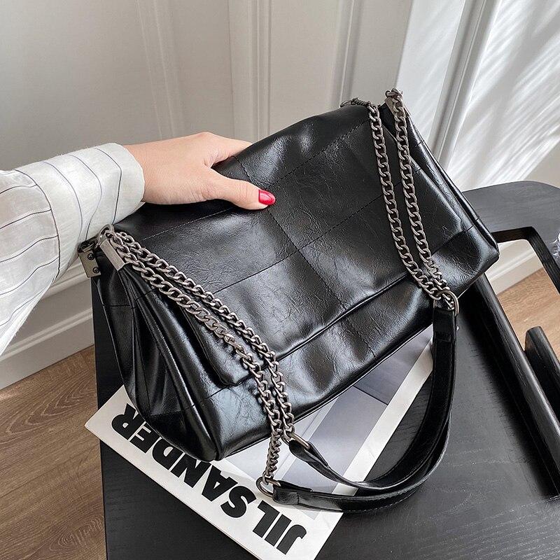 Big Totes Handbag 2021 Luxury Brand Women PU Leather High Capacity Chain Shoulder Crossbody Bag Women's Winter Hand Bag Handbags