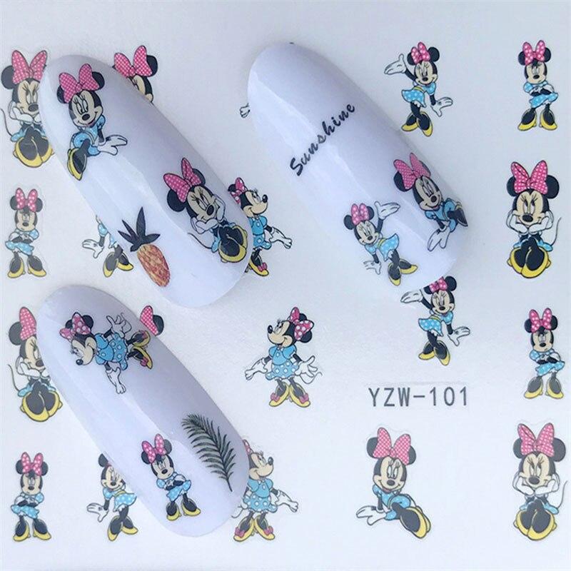 Adesivo de desenho para unha gato, adesivo para crianças, adorável, gato, coelho, mouse, estampa de animal ulta fw009