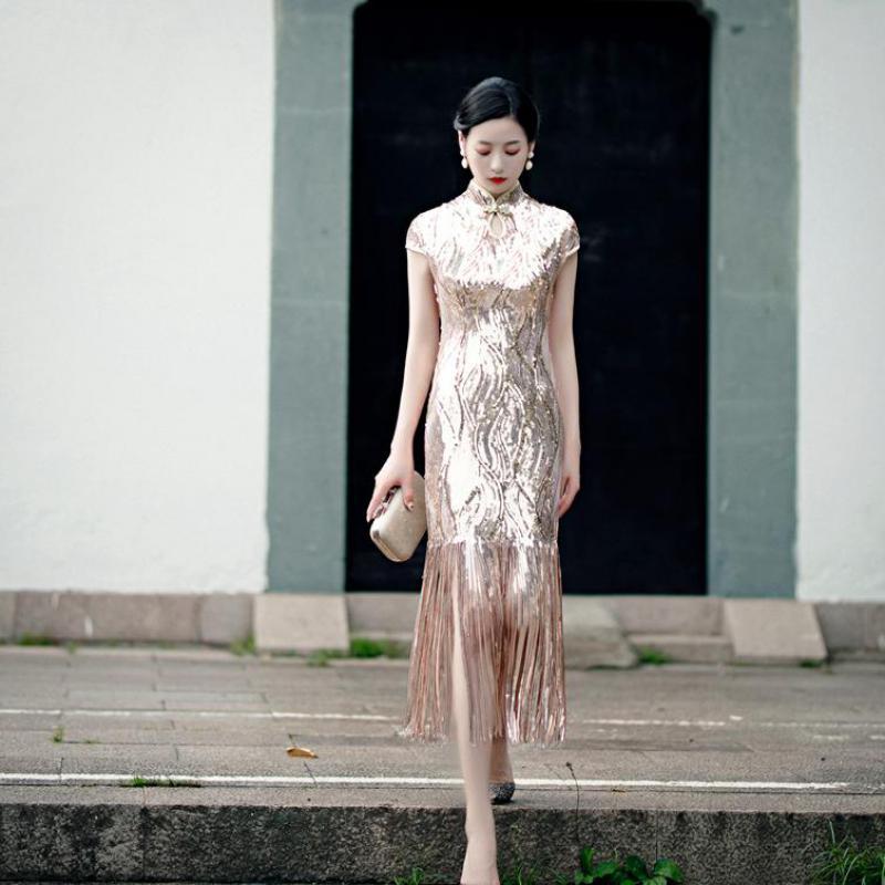 الشمبانيا مساء فساتين الحفلات ثوب المرأة حجم كبير 3XL-5XL شيونغسام مثير تشيباو الصينية الكلاسيكية طوق خمر Vestidos