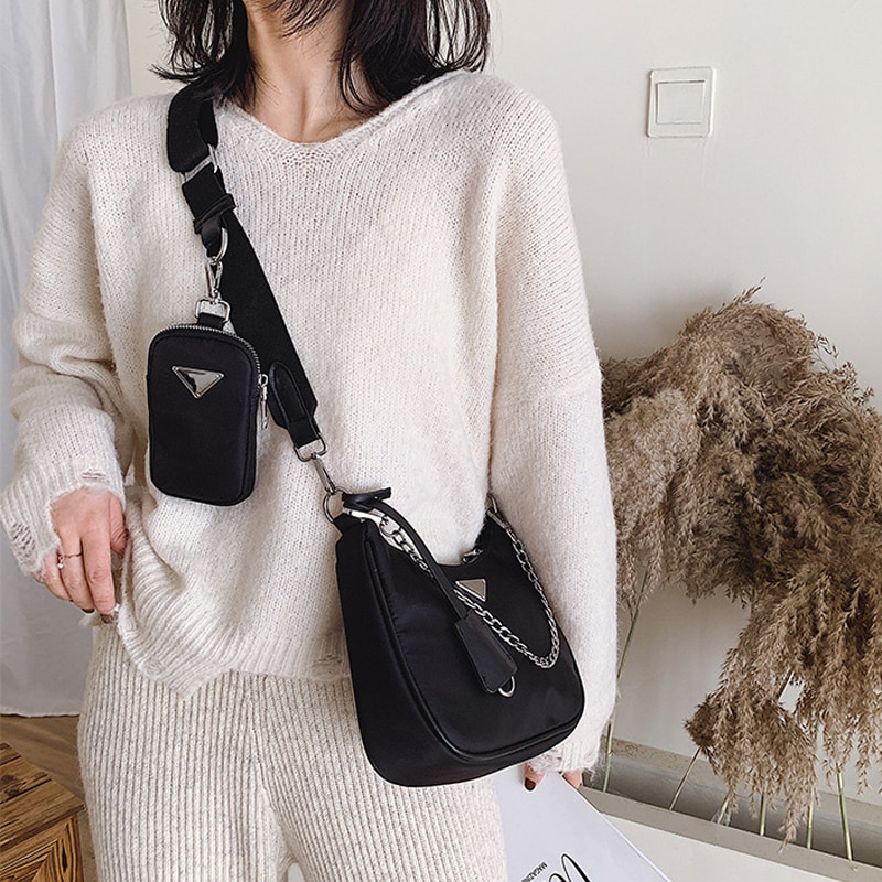 New Retro Shoulder Bag For Women Trendy Vintage Nylon Handbag Female Small Subaxillary Bags Casual Retro Mini Shoulder Bag Bella