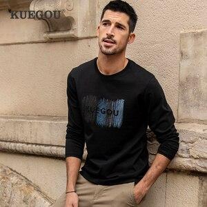 KUEGOU 100% Cotton Autumn Spring Clothing  Men's T-shirt Printing Embroidery Fashion  Long Sleeve tshirt Top Plus Size 88131