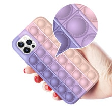 Fidget Toys Pop It Phone Case POPIT for IPhone 12 11 Pro XR XS Max Huawei Relief Stress Anxiety Sili