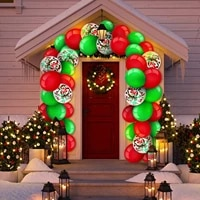 189pcslot classic red and green christmas latex balloon chain garland set christmas decoration birthday party supplies balloons