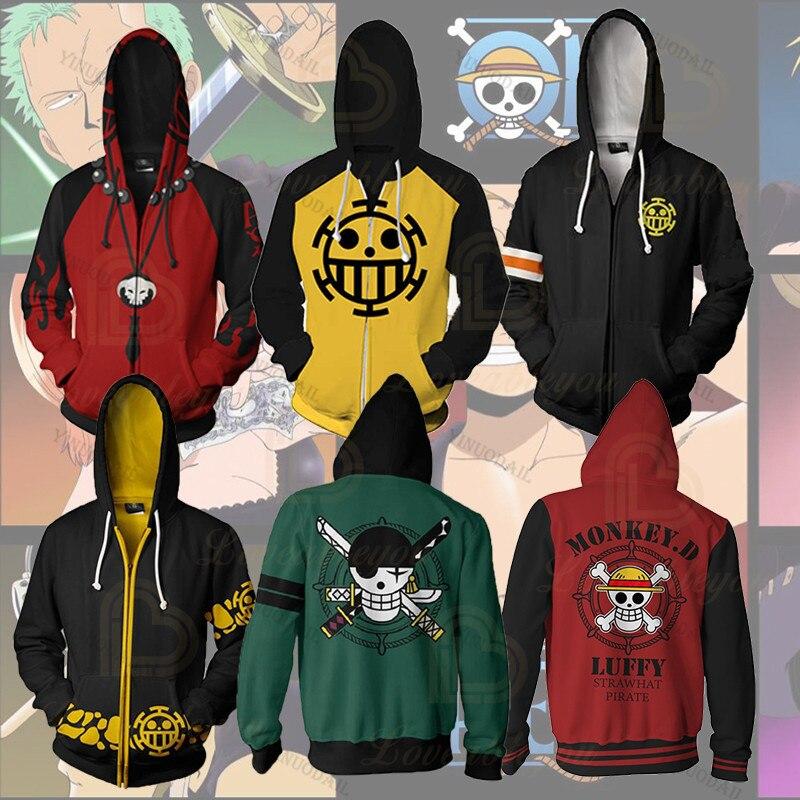 Anime uma peça hoodies 3d impressão pulôver moletom macaco d luffy ace sabo shanks lei batalha agasalho outwear casual Agasalhos e Moletons    -