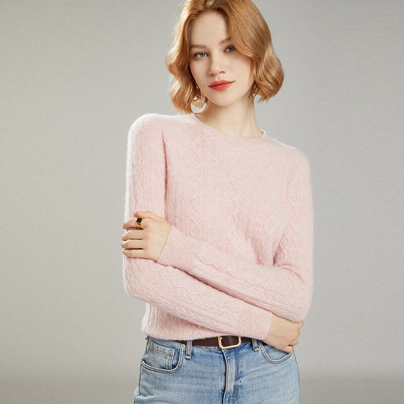 MeetMetro Women Wool Sweater Cashmere Pullover Women Autumn Knitted Sweater Winter Vintage Sweaters O-Neck Solid Jumper Women enlarge