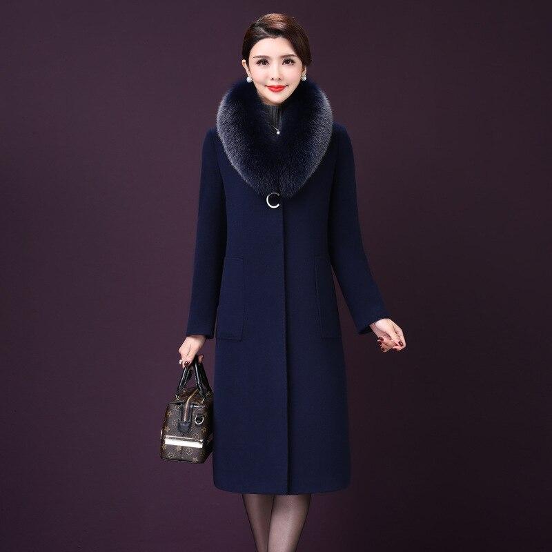 معطف نسائي 2021 خريفي وشتوي جديد دافئ طويل من الصوف طوق فرو الثعلب الحقيقي ملابس خارجية كبيرة الحجم ترتدي الأم 7XL