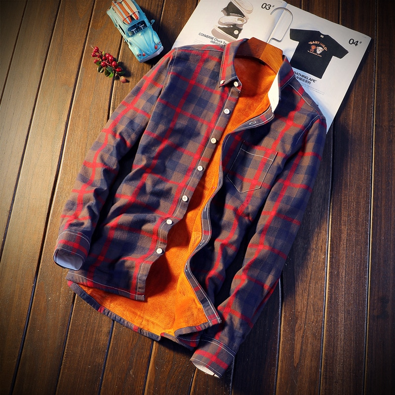 Рубашка мужская с длинным рукавом, бархатная утепленная Клетчатая блуза в стиле Харадзюку, рубашка с воротником на пуговицах, большие разме...
