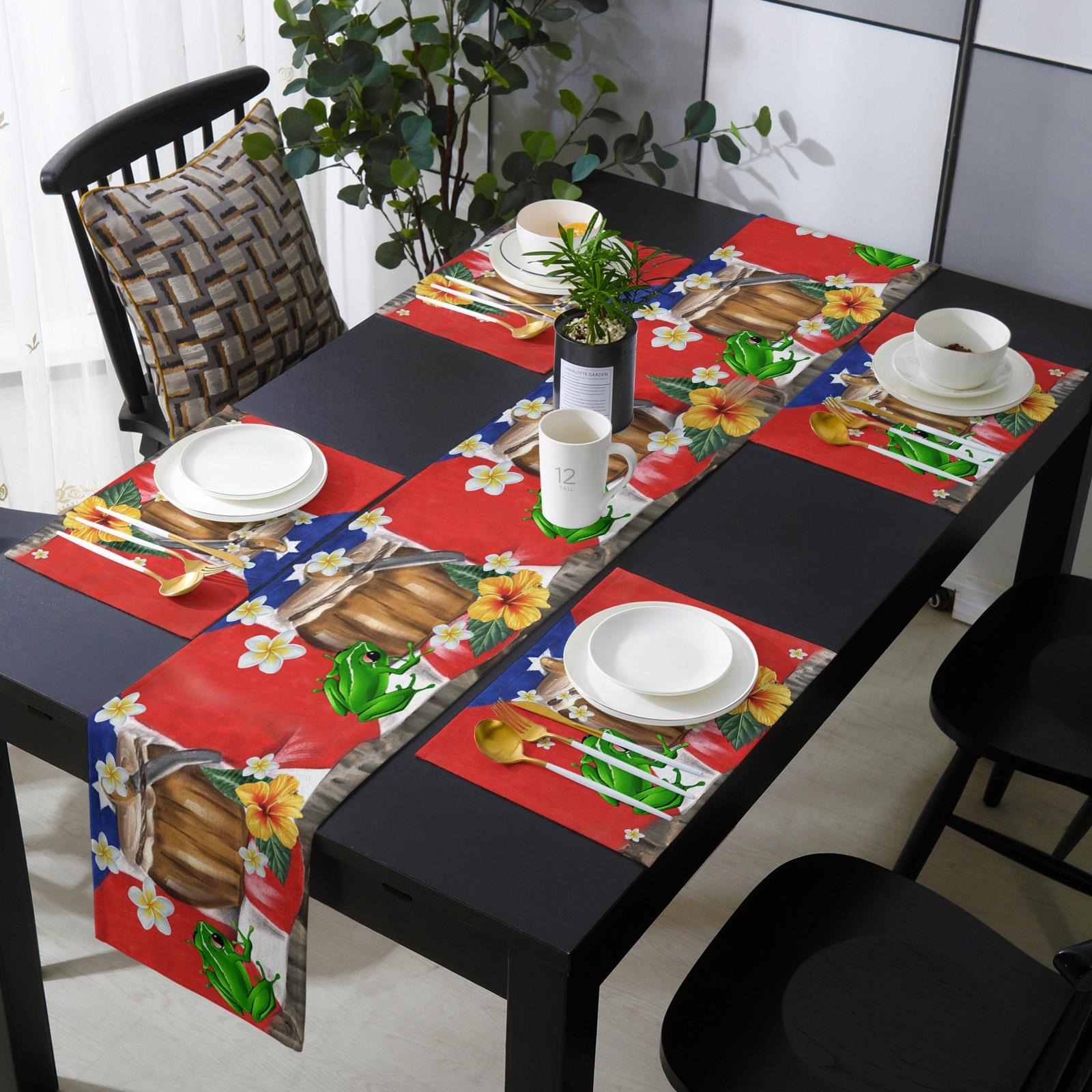 بورتوريكو العلم الضفدع الكركديه الجدول عداء مجموعة فاخرة الزفاف مأدبة الجدول الديكور الجدول عداء طاولة القهوة مفرش المائدة