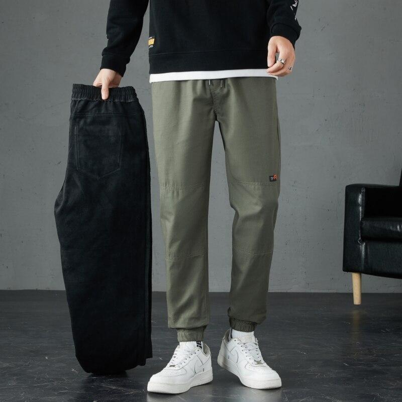 Мужские Зимние флисовые теплые брюки, новинка 2021, корейские слаксы, облегающие плотные серые брюки в стиле Харадзюку, универсальные модные ...