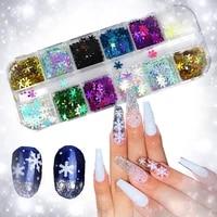 1 bag of holographic ultra thin snowflake sequin christmas mix3d snowflake nail art laser ab silver powder nail decoration nails