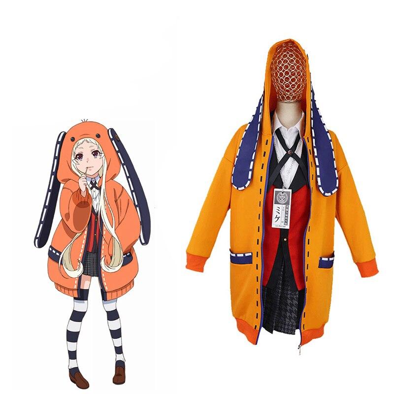 Anime Kakegurui jugador compulsivo Runa Yomozuki Cosplay traje Runa Yomozuki lindo Sudadera con capucha abrigo chaqueta del traje de Cosplay de Halloween