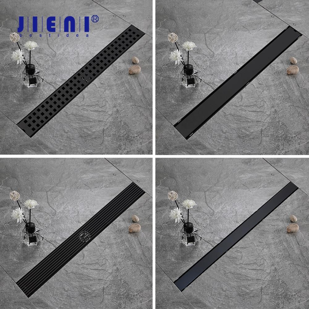 JIENI ماتي الأسود غير مرئية الحمام الطابق استنزاف مستطيل نوع الفولاذ المقاوم للصدأ الخطي دش الطابق استنزاف Srainer 600*70 مللي متر