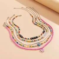 y2k colorful beads letter choker necklace set for women bohemia rainbow chain heartbutterfly pendant necklace 2021 fashion gift