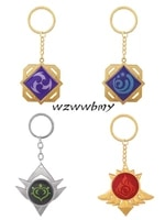 hot game genshin impact anime keychain element vision eye of god mondstadt cool luminous pendant key chain bag gift for friend