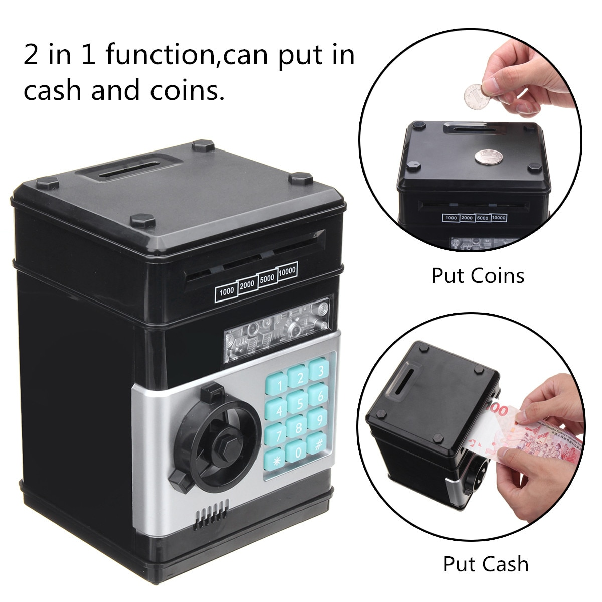 Bank Automatic Coins Cash Saving Money Box Counter Mini Safe Box Child Gift Electronic Password Money Box Code Key Lock Piggy