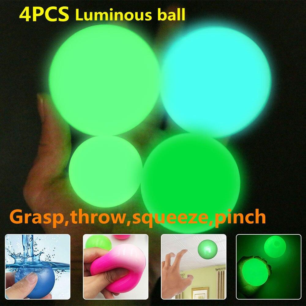 Липкий настенный шарик, потолочный шарик, светящийся шарик, липкий шарик для мишени, игрушки для снятия стресса, новинка, игрушка для детей и...