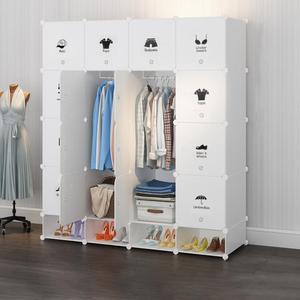 Plastic Wardrobe With Shoe Cabinet Wardrobe Closet Storage Cabinet Clothes Accessory Hanger Shoe Bag Storage Cabinet 4-layer