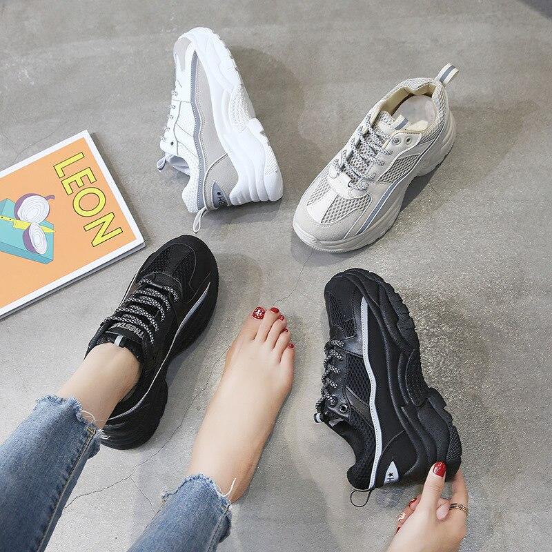 Zapatillas de deporte blancas para mujer, Otoño Invierno 2020, zapatos de cuero, zapatillas de plataforma negras de suela gruesa para mujer, zapatos gruesos de moda para mujer