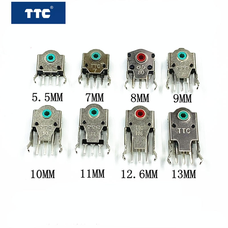 free-shipping-2pcs-original-highly-accurate-ttc-mouse-encoder-55mm-7mm-8mm-9mm-10mm-11mm-126mm-13mm-red-green-yellow-decoder