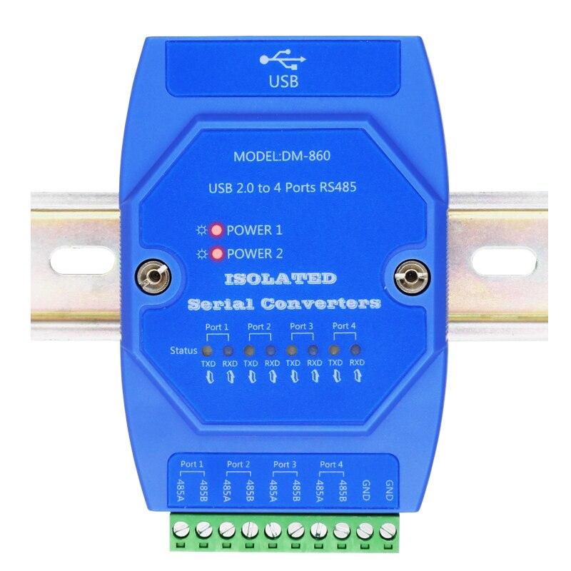 Puerto de serie USB a RS485 Puerto fotoeléctrico protección contra rayos 4 puerto de serie 485 relé convertidor de comunicación