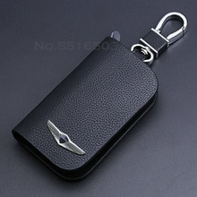 Leather Car Key Case For Hyundai Genesis L110 G80 GV80 2021 New With Logo Key Cover Keychain Key Pro