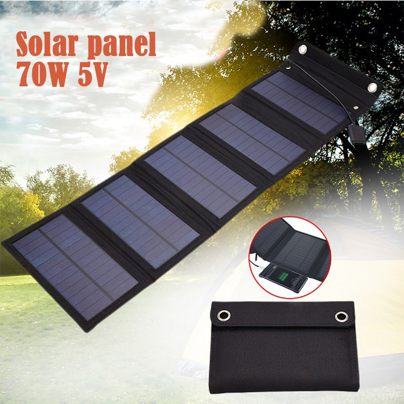 70 واط قابل للطي USB لوحة طاقة شمسية خلية شمسية قابل للطي لوح طاقة شمسية مضاد للمياه شاحن في الهواء الطلق موبايل شاحن بطارية الطاقة