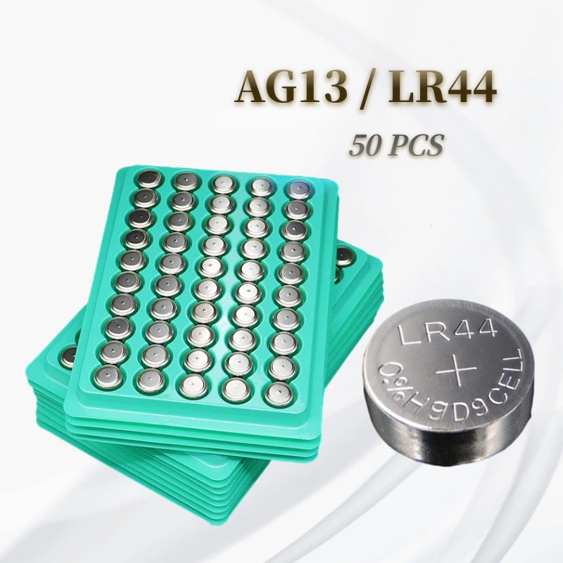50pcs LR44 AG13 L1154 357 SR44 1.55V Zinc Manganese Button Battery Watch Toys and Electronic Product