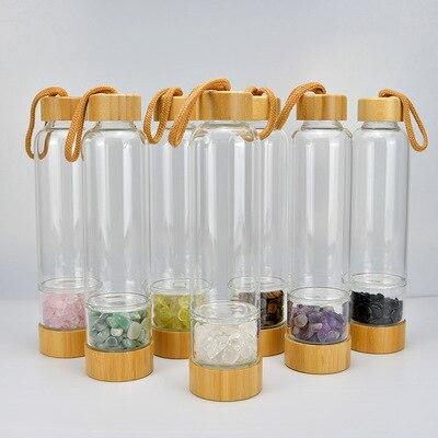 الكريستال الطبيعي الكوارتز الحصى الأحجار الكريمة شفاء الزجاج الطاقة إكسير شرب زجاجة ماء الخيزران الزجاج كوب هدية لطيف زجاجة ماء