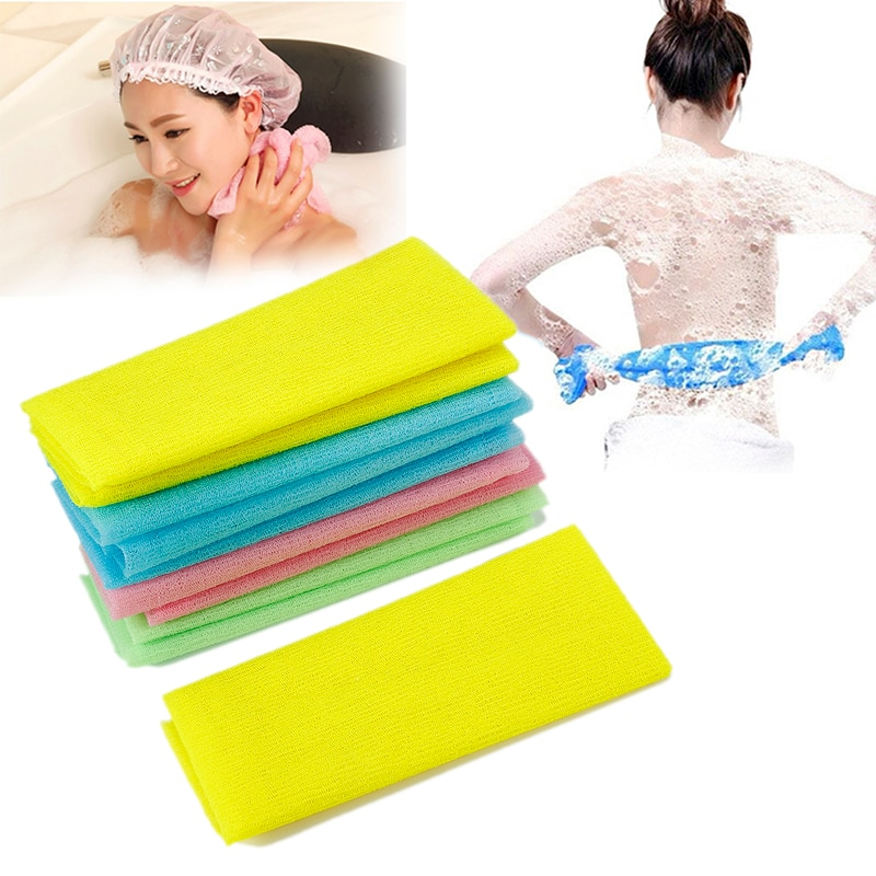 Nylon Beauty Skin Bath Wash Cloth Towel Long Back Scrubber Exfoliating Towel Compact Lightweight Sui