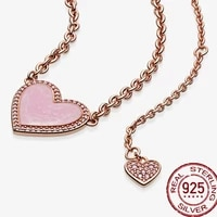 hot sale 925 sterling silver 2021 new pink swirl heart collier necklace for women brand original necklace jewelry gift for lover