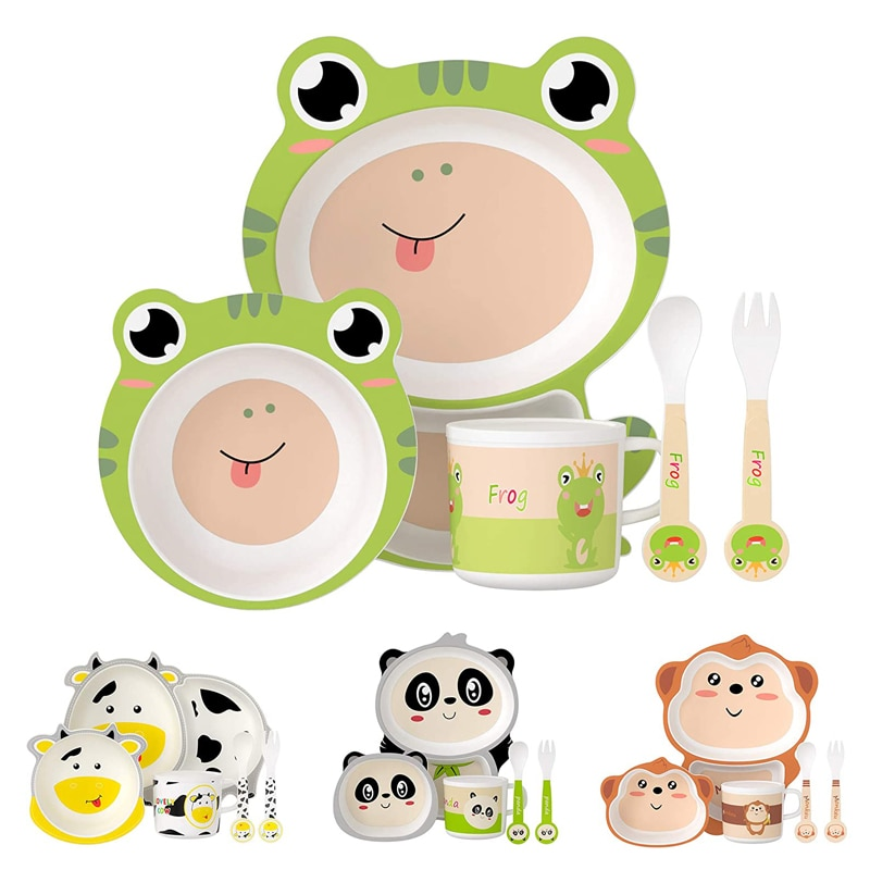 5Pcs Baby Tableware Degradable Infant Safety Feeding Set BPA-Free Bamboo Dinnerware Toddler Bowl + Plates + Cup + Spoon + Fork