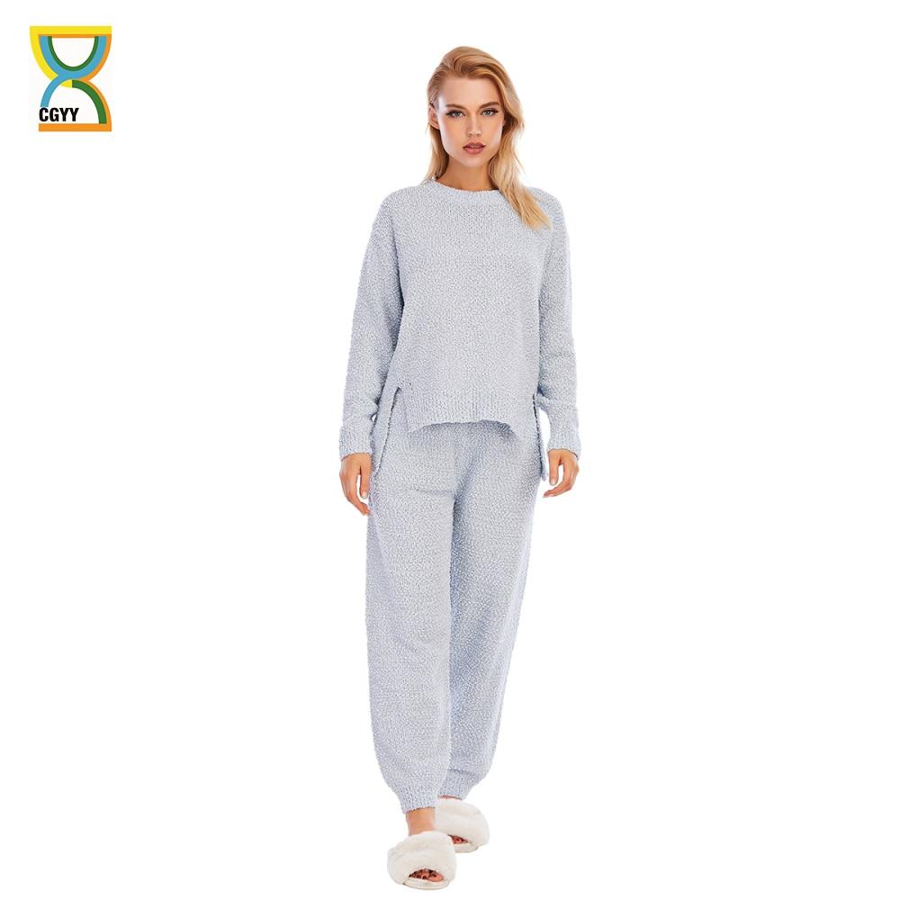 CGYY المرأة محبوك منامة بيجامة الساتان فام مجموعة طويلة الأكمام ملابس خاصة دعوى الإناث النوم قطعتين المتسكعون حجم كبير