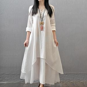 maxi dresses for women Cotton Linen Asymmetric Large Swing Button Loose Long Sleeve Maxi Dress Summer hot solid loose maxi dress