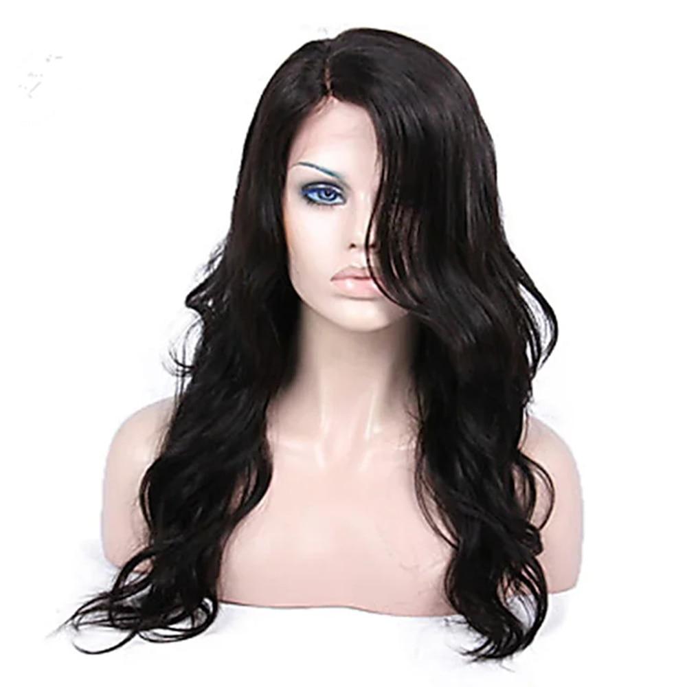 150% Density New Design Women Lovely Youth Women's long wavy Human Hair Lace Wig Black style wigs for white women