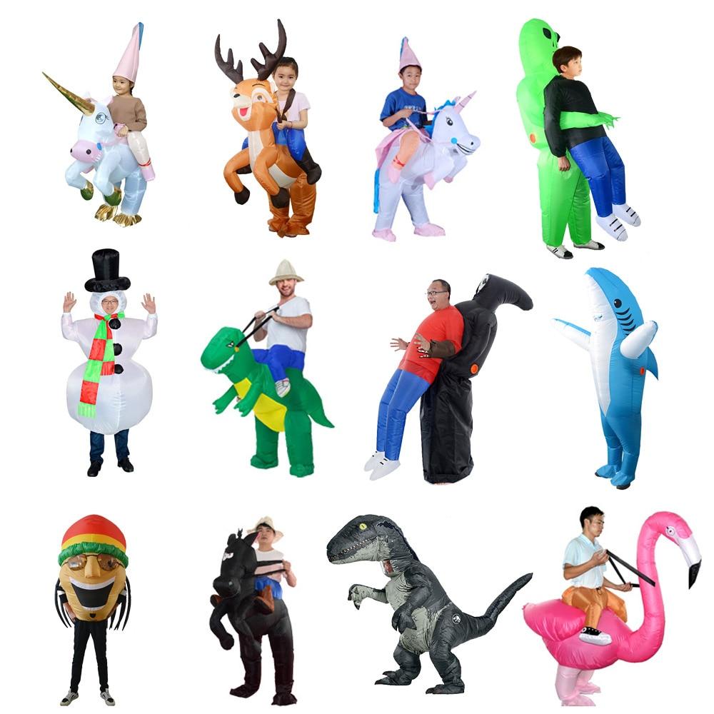 2020 regalo Purim disfraces de dinosaurios inflables fiesta unicornio Cosplay traje de extraterrestre mascota disfraz de Halloween para mujer adultos niños