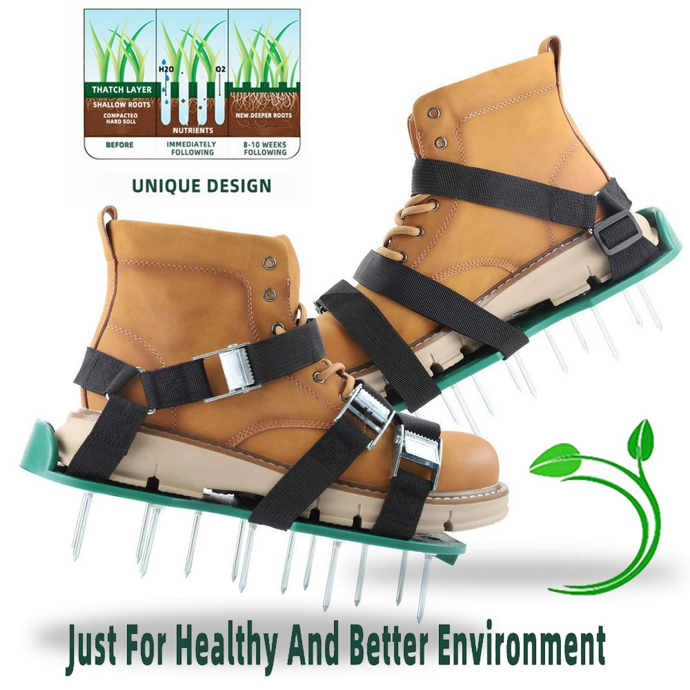 1 Pair Grass Spiked Garden Ripper Gardening Walking Revitalizing Lawn Aerobic Shoes Yard Garden Loos