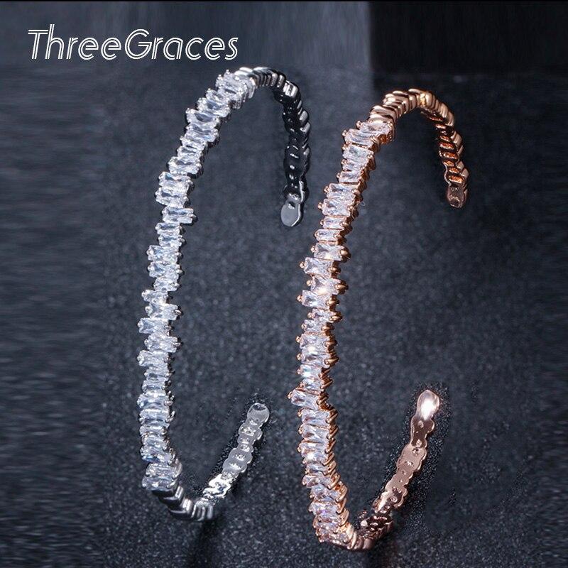 ThreeGraces, rectángulo brillante, Zirconia cúbica blanca, Color oro rosa, brazalete abierto Ajustable, joyería para mujeres, fiesta BA010