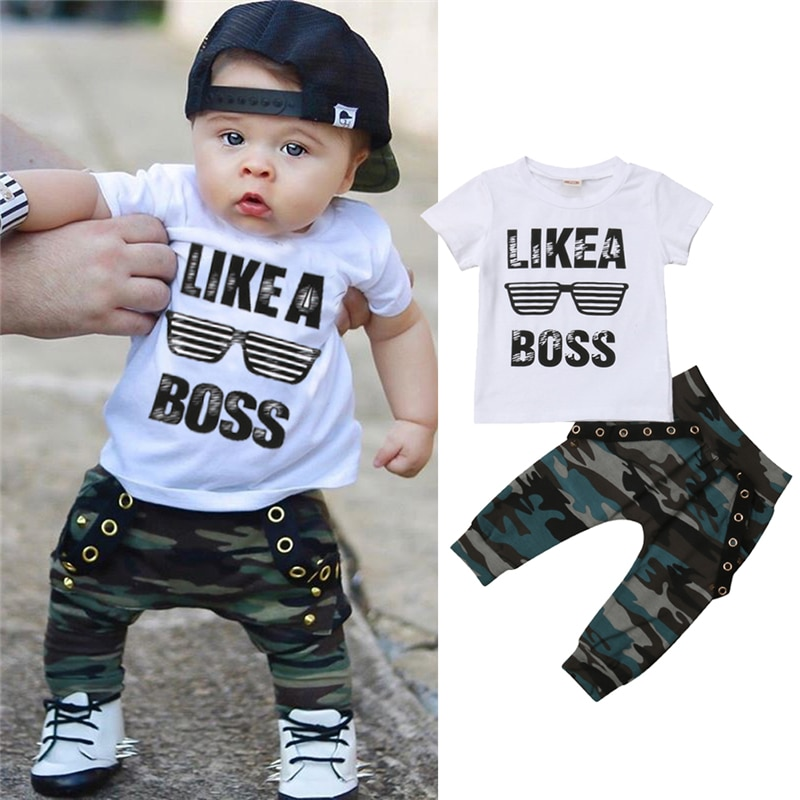 Newborn Baby Boys Clothes Toddler Kids Short Sleeve Letter T-shirt Camo Pants 2Pcs Outfits Set Baby's Clothing