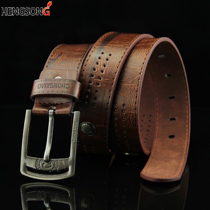 Hollow Rivet Punk Style Belt Men's Casual Belt Wide PU Leather Belt Buckles For Men Fashion Male Hig