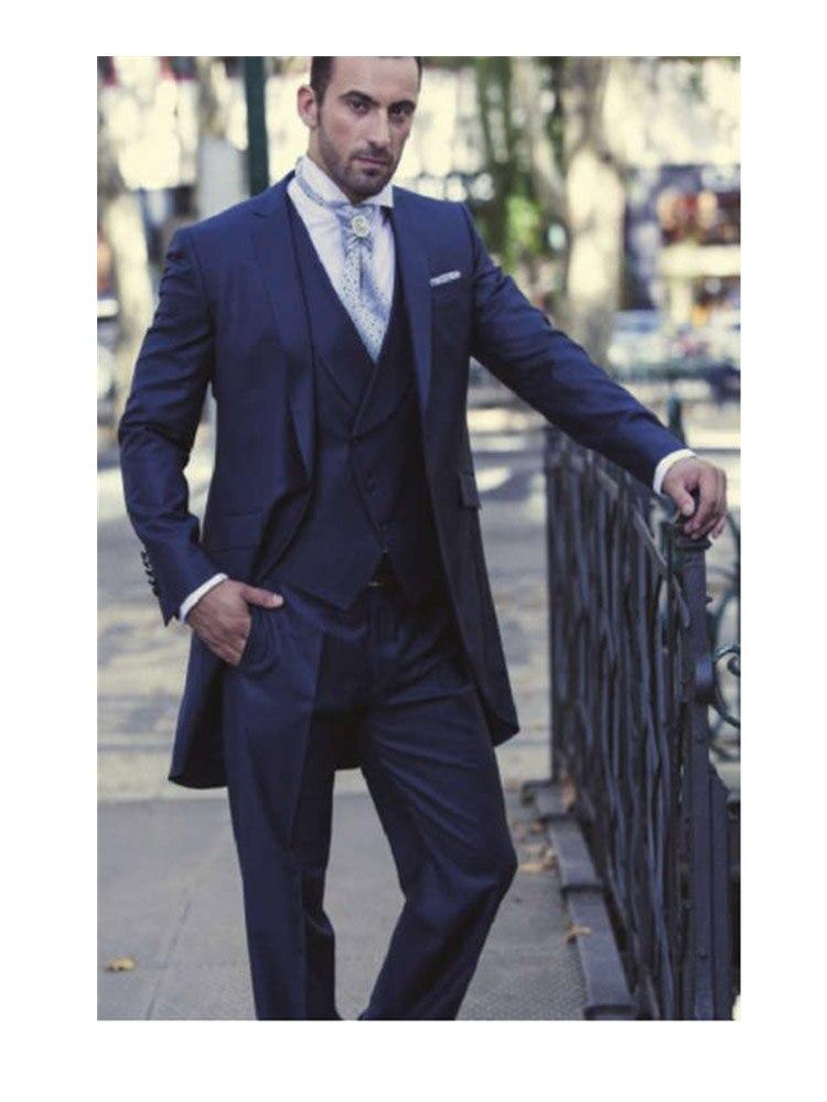 Azul Marino padrino un botón novio esmoquin muesca solapa hombres trajes de...