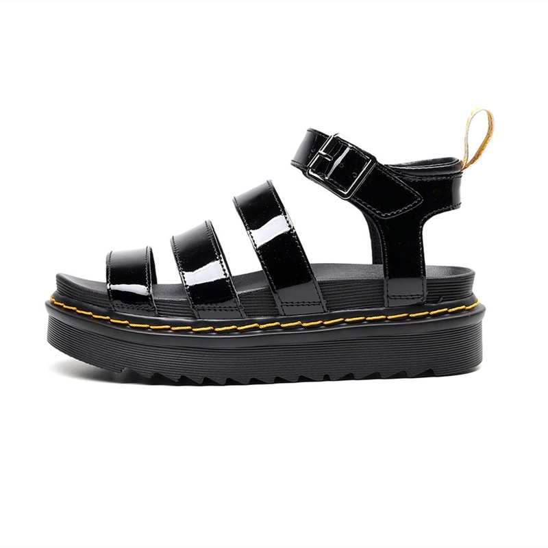 2021 Summer Women's Fashion Martin Sandals Real Cowhide Fish Mouth Sponge Cake Sandals Roman Buckle