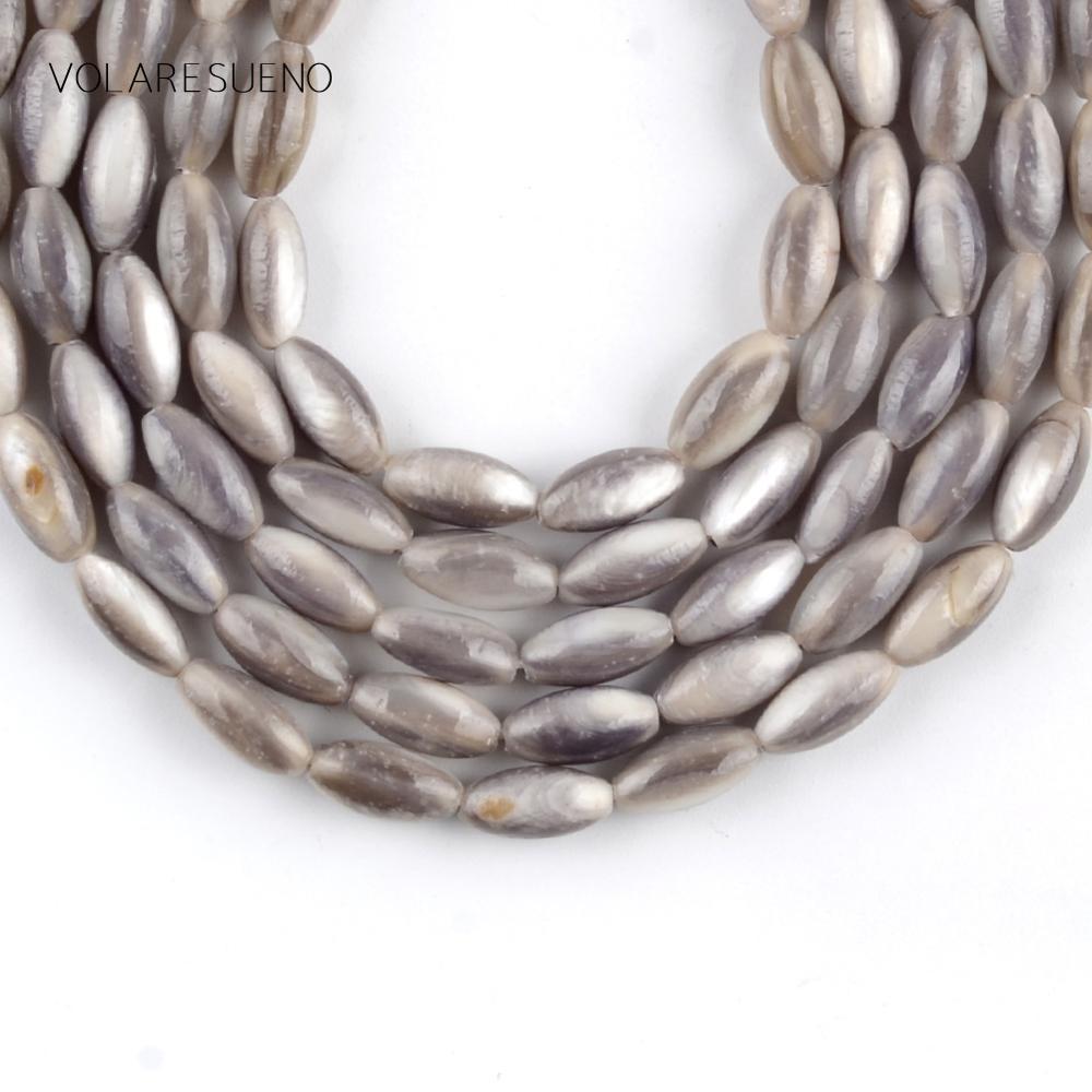 """Pedra natural 5*10mm concha grânulos de arroz forma cinza contas para fazer jóias espaçador grânulos soltos diy pulseira jóias strand 15"""""""