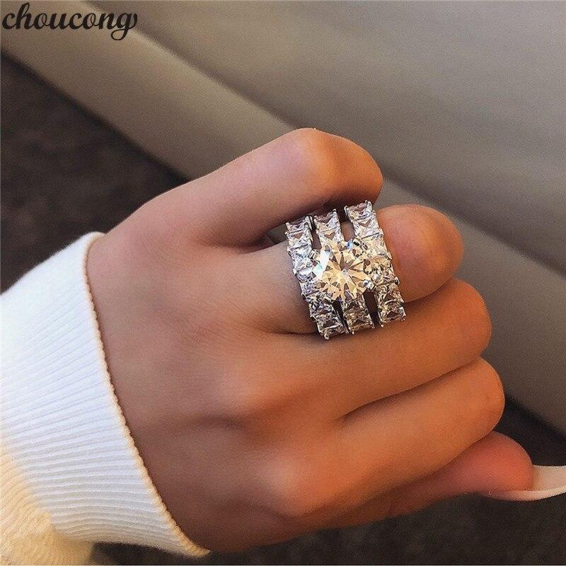Conjuntos de anillos de compromiso 3 en 1 de choucong, Plata de Ley 925 corte princesa AAAAA cz, anillos de compromiso para boda, joyería para mujer