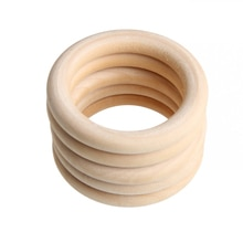 5pcs 70mm Baby Toys Beech Wooden Baby Teething Rings Baby Teethers Baby Accessories For Baby Necklac