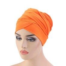 2020 Модный женский платок на голову тюрбан шляпа африканские головные уборы сплошной цвет хлопок тюрбанет дамы длинный хвост капот Шапочки ...